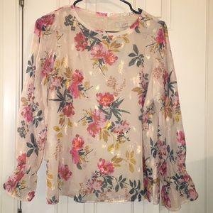 Loft floral long sleeve blouse; Brand new with tag